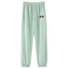Pajamas Strawberry-Print Sleepwear Spring-Pants Sleep-Bottom Soft Cotton Casual Women