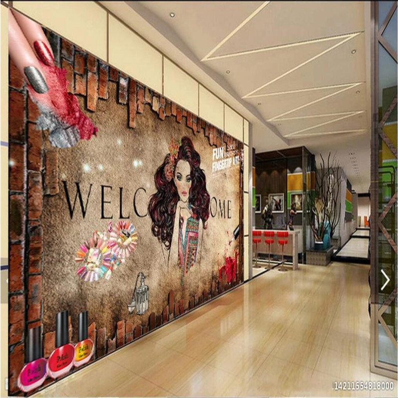 Custom Nail Shop Personality Mural Retro Nail Art Brick Wall Background Wallpaper 3D Beauty Salon Industrial Decor Wall Paper 3D