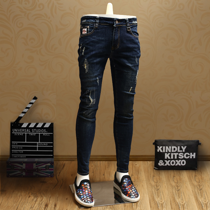 Fashion Skinny Ripped Blue Jeans Men Quality Cotton Streetwear Slim Fit Straight Stretch Denim Pants