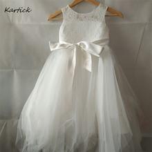 Новые Платья с цветочным узором для девочек поясом детское платье