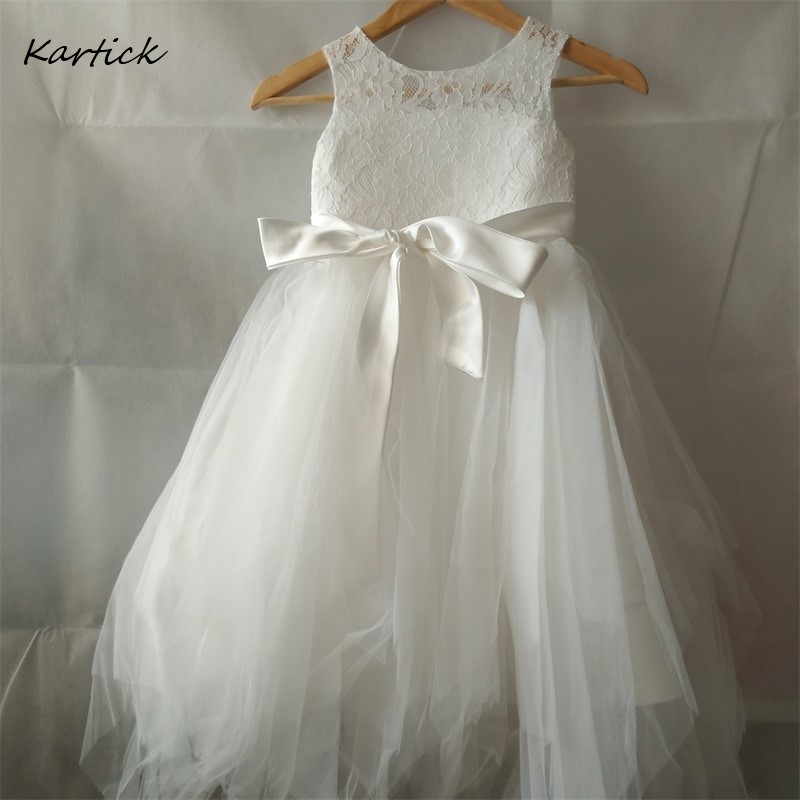 New Flower Girl Dresses With Sashes Little Girls Kids/Children Dress Real Keyhole Back First Communion Ball Party Pageant Dress