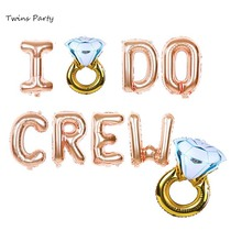 Twins Party I DO CREW Balloons Bachelorette Decoration Hen Ring Balloon Do Crew 16 Letter Rose Gold
