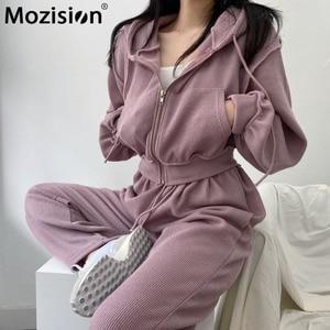 Mozision Chic Drawstring Hooded Two Piece Set Women Solid Lantern Sleeve Zipper Sweatshirt Wide Leg Trouser Casual Sporty Set