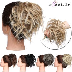 S-noilite Messy Scrunchie chignon hair bun Straight elastic band updo hairpiece synthetic hair chignon hair extension for women(China)