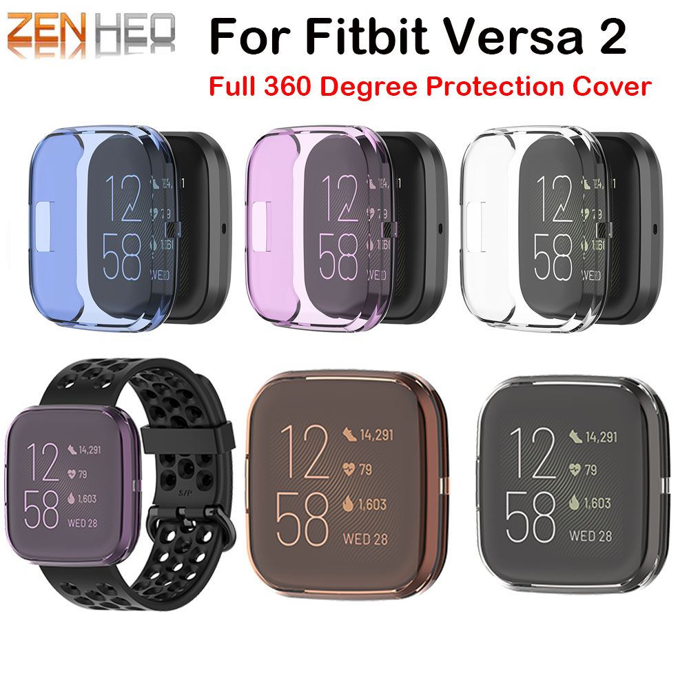 TPU Protector Case Cover Clear Full 360 Degree Protective Shell For Fitbit Versa 2 Band Smart Watch Screen Protector Frame Cases