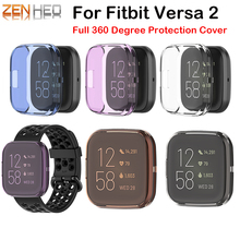 TPU Protector Case Cover Clear Full 360 Degree Protective Shell For Fitbit Versa 2 Band Smart Watch Screen Protector Frame cases mijobs pc diamonds case cover for fitbit versa band screen protector watch shell smart watch accessories for fitbit versa lite
