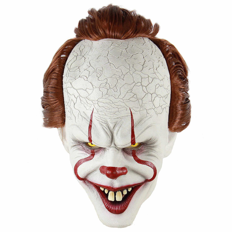 Halloween Stephen King's Maschera Maschera di Orrore Pagliaccio Burlone Pennywise Maschera In Lattice Spaventoso Maschera Da Clown Partito Realistico Costume Cosplay Puntelli