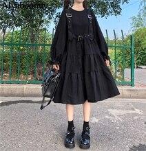 Japanese Harajuku Women Black Midi Dress Gothic Punk Style Suspenders Bandage Dress Vintage Ruffles Long Baggy Cosplay Costume