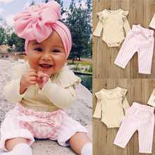 Cute Baby Girls Outfits Clothes Kids Romper Bodysuit+ Long Pants Outfits Set цена