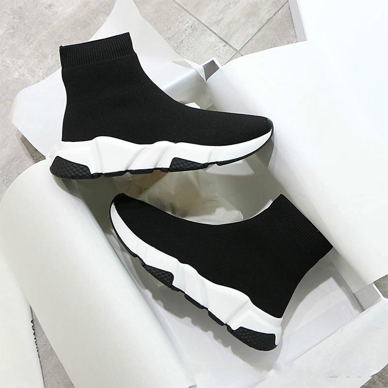 2019 20 Кроссовки; женская обувь; женская повседневная обувь из эластичного трикотажа; дышащая удобная женская обувь; спортивные носки - 5