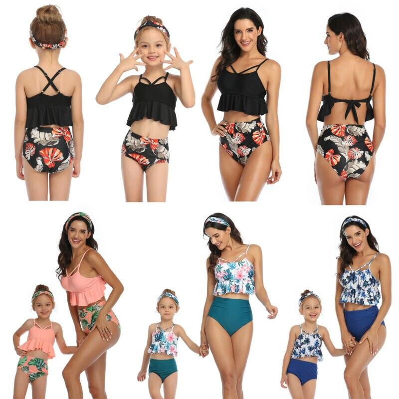US Family Matching Swimsuit Mother Daughter Kid Baby Women Girls Bikini Swimwear