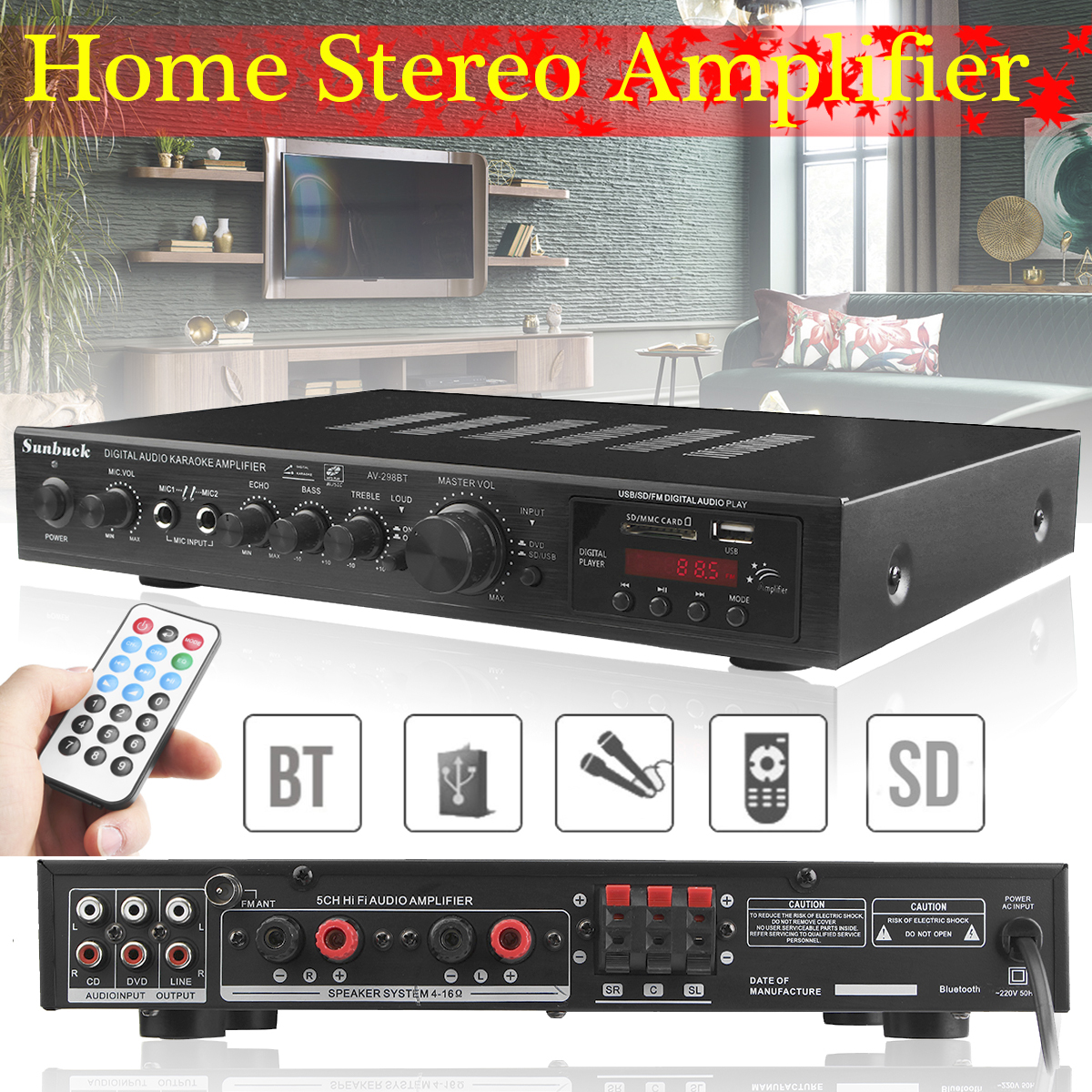 720W 5 Channel Bluetooth HiFi Stereo Amplifier LED Digital Karaoke Home Cinema Home Theater Amplifiers