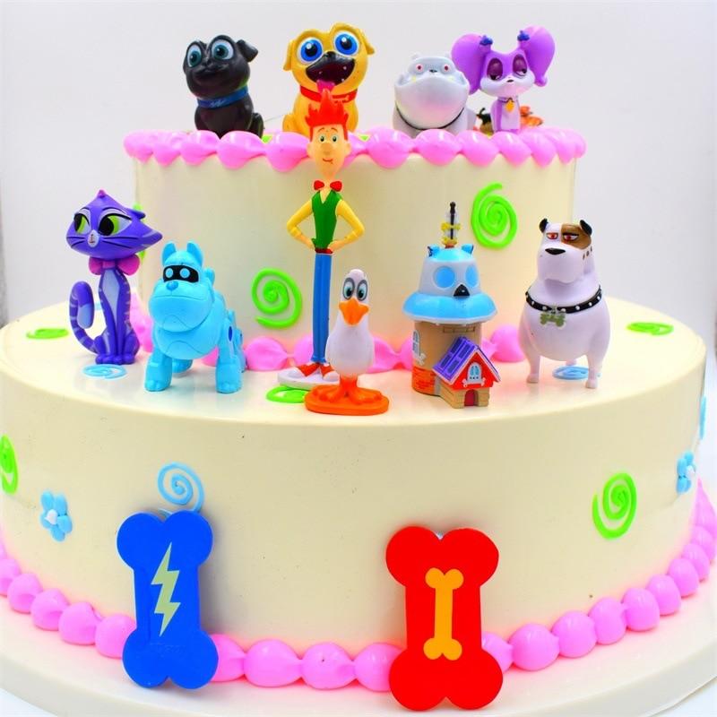 Remarkable 12Pcs Lot Puppy Dog Pals Doll Model Toy Birthday Cake Decoration Funny Birthday Cards Online Inifodamsfinfo