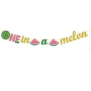 Image 4 - Leeiu owoce motyw arbuz Party dekoracji najlepszego z okazji urodzin banery arbuz ciasto wykaszarki Baby Shower 1st Birthday Party Supplies