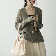 Johnature, осенний однотонный вязаный женский кардиган с v-образным вырезом, свитер,, однобортный, подходит ко всему, 5 цветов, Женский Топ, свитер