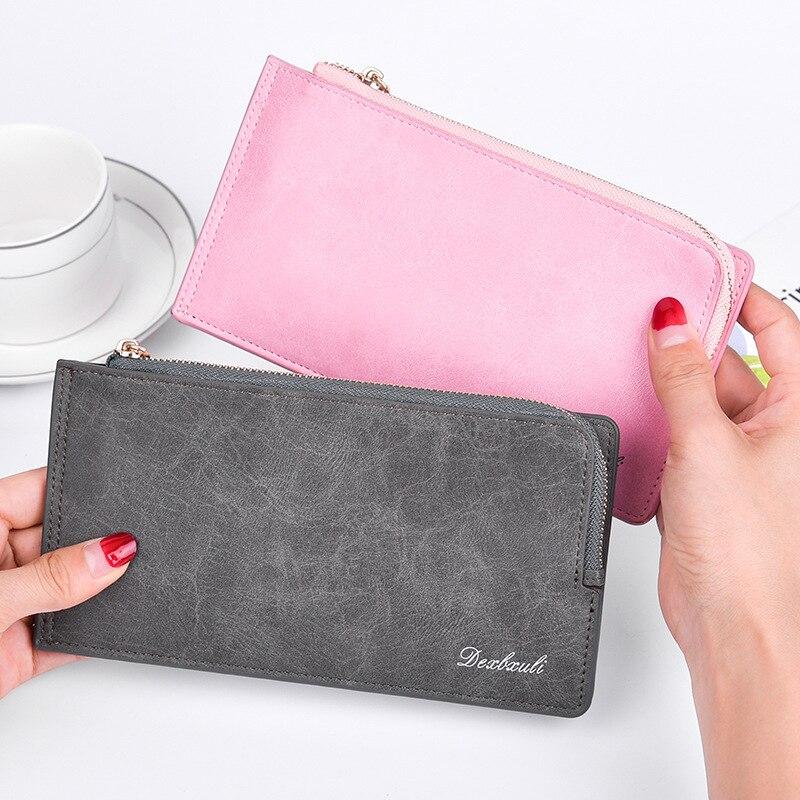 2019 New Style Oil Wax Leather Wallet Women's Long Card Bit More Wallet Dexbxuli Double Zipper Mobile Phone Bag