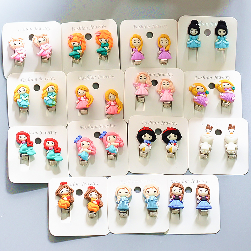Elsa Princess Kids Toys For Girl Cute Cartoon Children Ear Clip Frozen 2 Disney Fashion Photo Prop Earrings Christmas Party Gift
