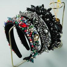 Feito à mão do vintage barroco bandana cor sólida muti-color cristal e contas hairbands strass acessórios femininos