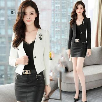 цена Short Female Blazer Black White Blazer Woman Commuting Profession Office Women Blazer Fashion Lace Women Blazers and Jackets онлайн в 2017 году