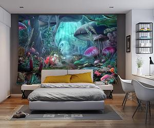 Image 3 - Simsant Mushroom Forest Castle Tapestry Fairytale Trippy Colorful Butterfly Wall Hanging Tapestry for Home Decor GT2TDBZY0425