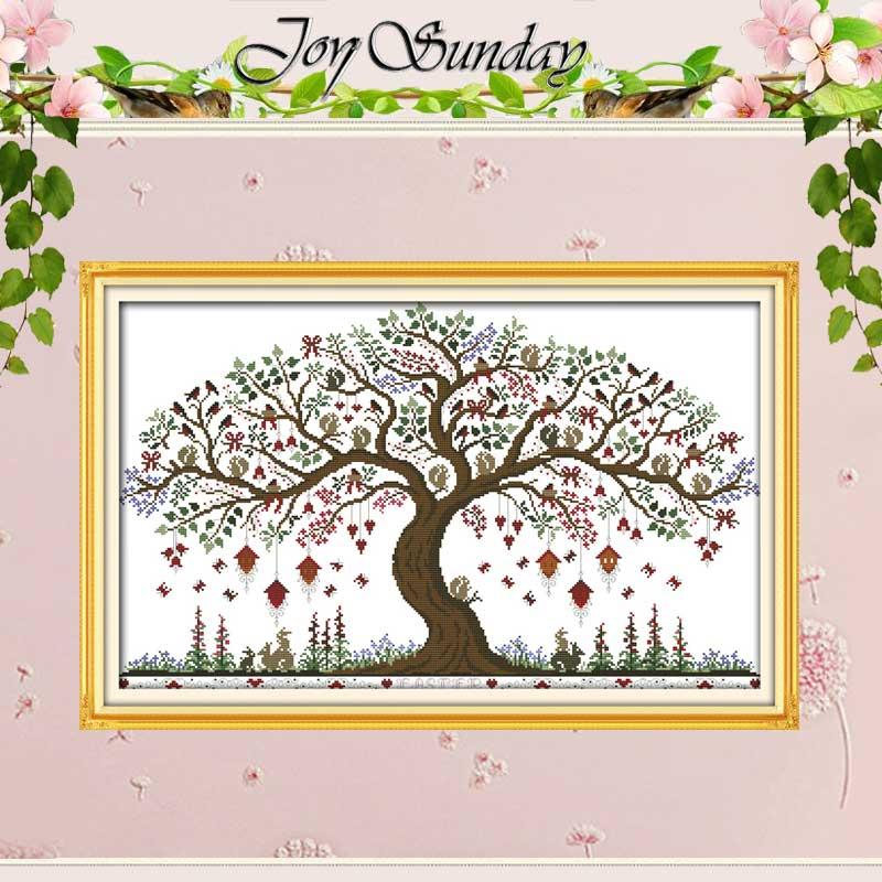 사랑 나무 패턴 크로스 스티치 11CT 인쇄 14CT 크로스 스티치 세트 도매 크로스 스티치 키트 자수 바느질 세트
