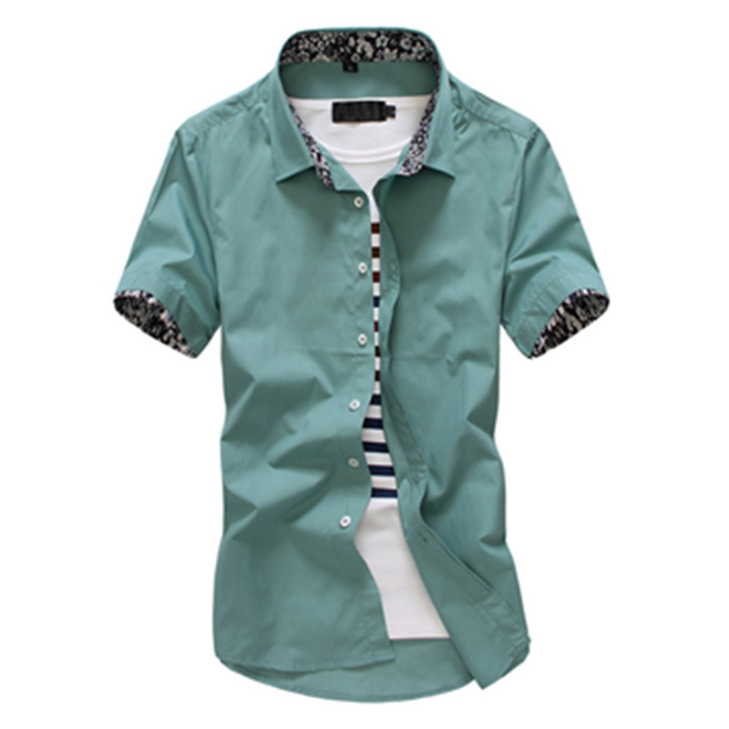 Fashion Men Solid Shirts Short Sleeve Turn-down Collar Men Dress Shirt Casual Business Work Shirt Male Slim Fit Camisa De Hombre