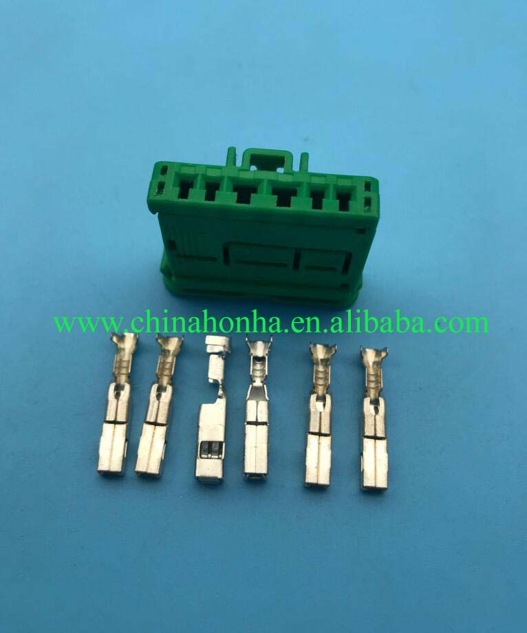 6 pin green 2.8/1.5mm female auto electronic housing plug, wire harness hybrid connector car wire plug 98821106X