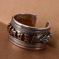 S925 Silver Sanskrit Buddhism Finger Ring Male Vintage Pestle Vajra Bodyguard Men Rings Jewelry Dropshipping
