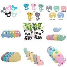 Chenkai 10PCS Silicone Teether Car Elephant Koala Butterfly Flamingo Bunny Baby Pacifier Dummy Rabbit Teething Pendant(China)