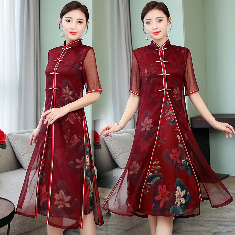 Mid-length Modified Version Audrey New Cheongsam 2019 Spring And Summer New Style Women's Retro Chinese-style Elegant Slimming C