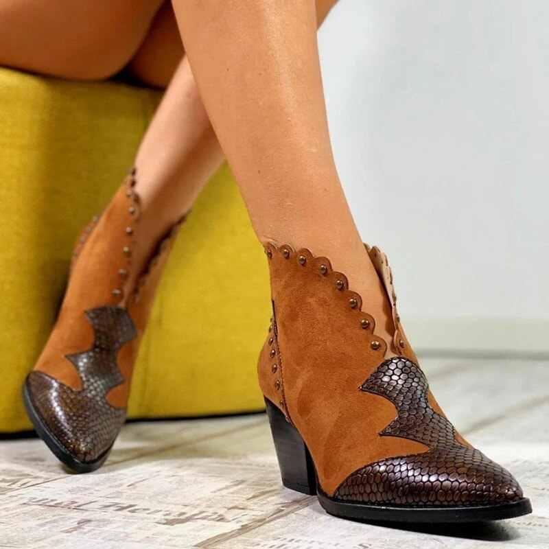 נשים חורף תחרה עור מפוצל קאובוי קרסול מגפי נשים טריז עקב גבוה נעלי נחש הדפסת המערבי Cowgirl מגפי Botas Mujer