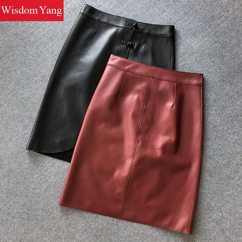 Summer Sheepskin Genuine Leather Pencil Skirts Womens Sexy Vintage Ladies Black Red Midi Asymmetrical Wrap Skirt Elegant Bodycon