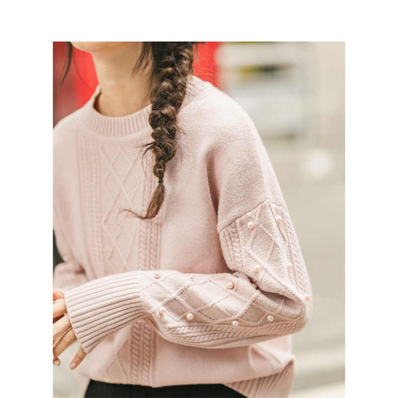 INMAN Frühling Herbst Pullover Oansatz Drop-schulter Hülse Jacquard Perle Dame Frauen Pullover