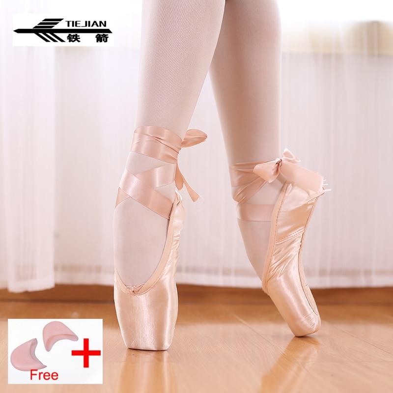 Tiejian pointe sapatos bandage ballet dança menina mulher profissional lona/cetim dança com esponja silicone toe pads