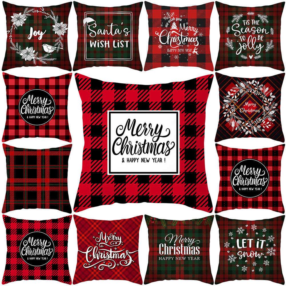 Merry Christmas Snowflake Deer Plaid Geometric Pillow Case Cushion Cover Wel GT