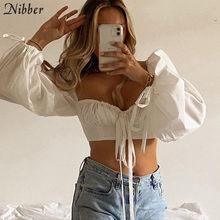 Nibber – haut court moulant avec pompon romantique pour femme, streetwear plissé et élastique, de haute qualité, décontracté et chic, coréen