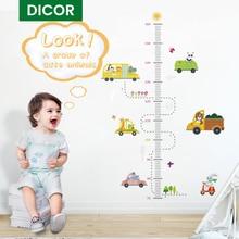 DICOR 만화 높이 측정 벽 스티커 어린이를위한 성장 차트 보육 룸 장식 어린이 방 스티커 벽 장식 스티커