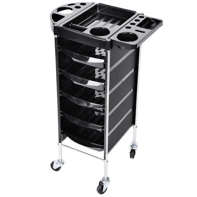 5 Drawers Trolley Cart Hair Salon Instrument Storage Cart Adjustable Height Trolley 52 x 38 x 92cm Hairdressing Supplies