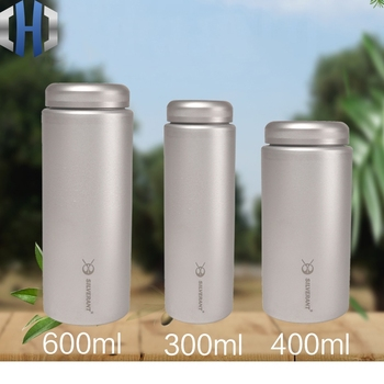 300ml & 400ml & 600ml Pure Titanium Kettle Wide Mouth Water Bottle Portable Ultralight Cup Outdoor Sports Travel Car Kettle