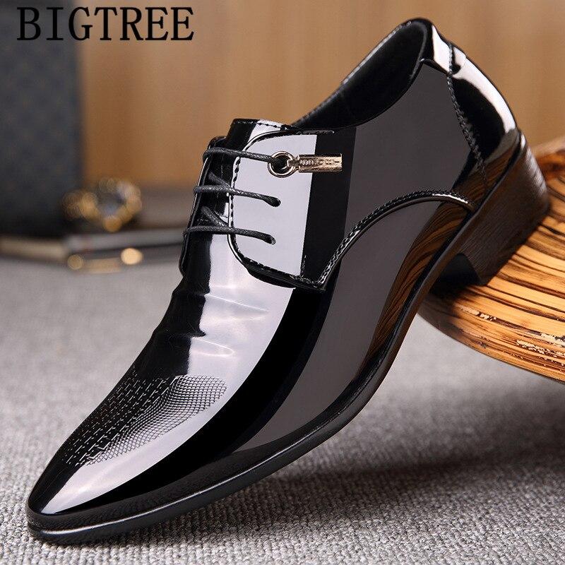 Zapatos De vestir para Hombre, calzado Formal italiano, a la moda, para oficina, con patente cuero negocios, clásico