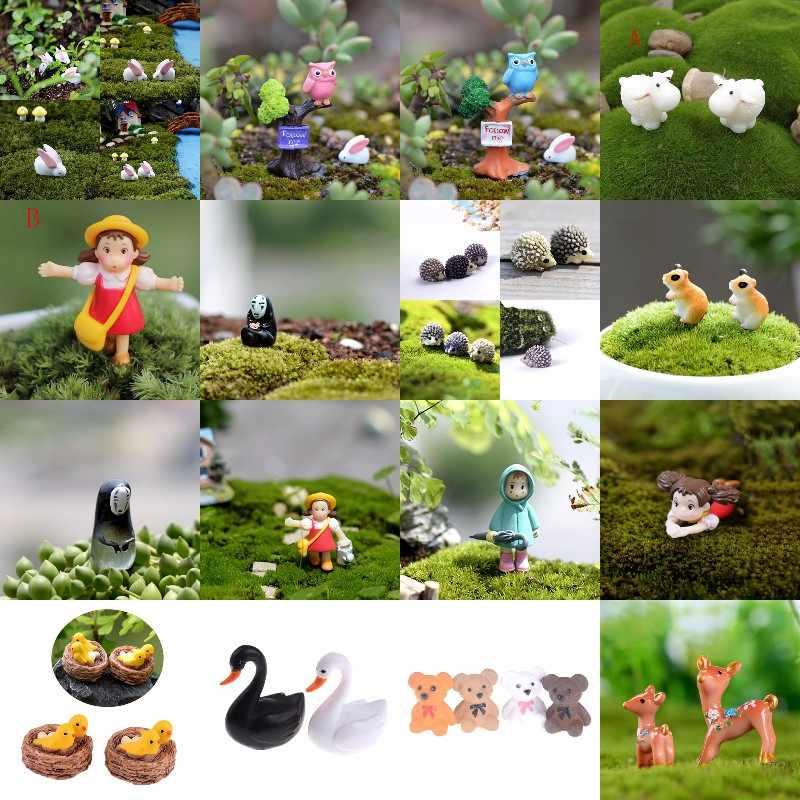 Dessin animé animaux Miniatures Figurines Mini artisanat Figurine plante Pot ornement de jardin Miniature fée jardin décor bricolage