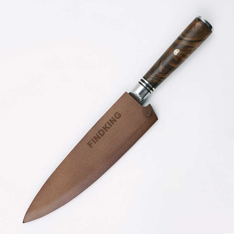 Findking capa de faca de madeira, alta qualidade de proteção de madeira de barba, faca de cozinha, protetor de madeira