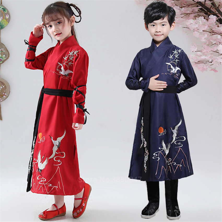 Hanfu Dress Kids Traditional Chinese Costume Folk Ancient Crane Baby Girl Boy Tang Suit Dance Costume Party New Year Clothes