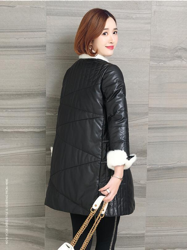 Genuine Leather Jacket Women Real Sheepskin Leather Down Coat Winter Warm Mink Fur Collar Luxury Jacket OT1805 MF549