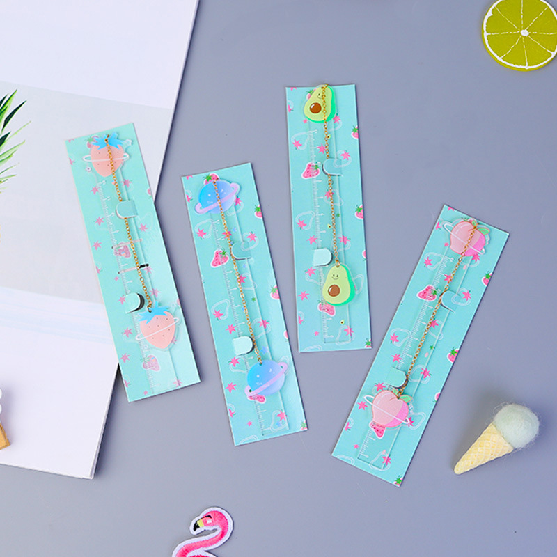 Cute Fruit Avocado Ruler Bookmark Kawaii Planet Pendant Book Mark For Kids Girls Gifts School Office Stationery Supplies