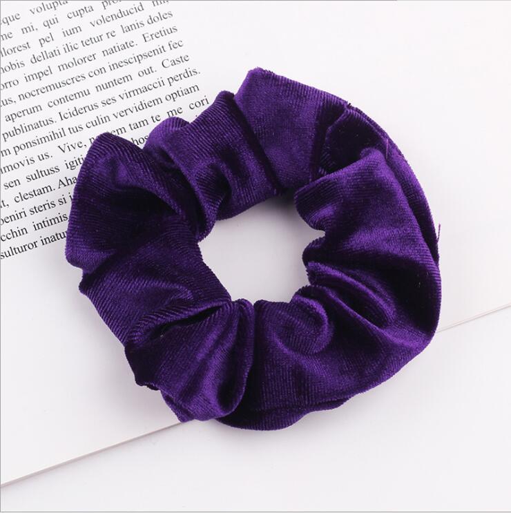 33 цвета, корейские Бархатные резинки для волос, эластичные резинки для волос, одноцветные женские головные уборы для девушек, заколки для волос с конским хвостом, аксессуары для волос - Цвет: Purple