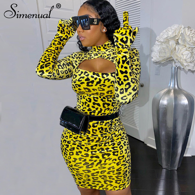 Simenual Leopard Hollow Out Women Dress With Gloves Bodycon Long Sleeve Skinny Party Clubwear 2020 Fashion Mini Dresses Sexy Hot