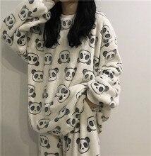 2020 Leuke Panda Pyjama Fleece Pyjama Vrouwen Herfst En Winter Pyjama Met Broek Flanel Homewear Tweedelig Pak