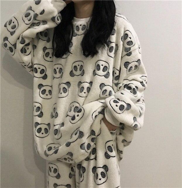 2020 mignon panda pyjama polaire pyjama femmes automne et hiver pyjama avec pantalon flanelle maison porter deux pièces costume