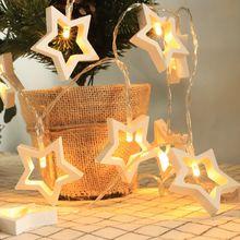 Christmas Decoration LED Lights Jupiter Wooden Tree Decorative Noel Navidad 2019 Ornaments Pendant